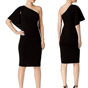 Calvin Klein Black One Shoulder Sheath Dress 8